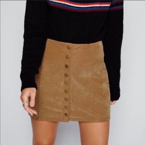 Free people faux suede button up skirt nude sz 4
